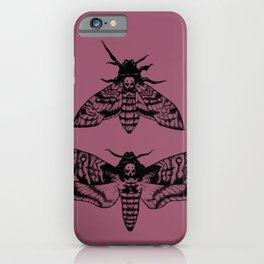 Purple Deaths Head Hawk Moth Pointillism iPhone Case