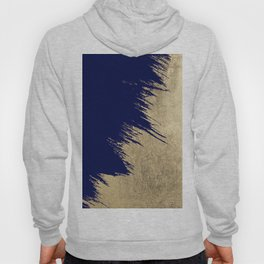 Navy blue abstract faux gold brushstrokes Hoody