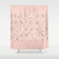 leah flores Shower Curtains featuring Flores by Tuky Waingan
