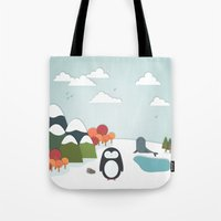 biology Tote Bags featuring South Pole by General Design Studio
