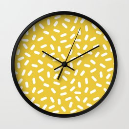 Somethin' Somethin' - yellow bright happy sprinkles pills dash pattern rad minimal prints Wall Clock