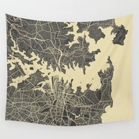 sydney Wall Tapestries featuring Sydney map by Map Map Maps