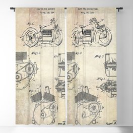 1943 Paper Indian Motor Company Drive Shaft for Motorcycles Patent Blackout Curtain