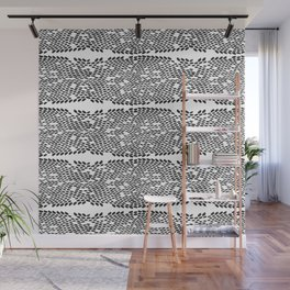Snake skin scales texture. Seamless pattern black on white background. simple ornament Wall Mural