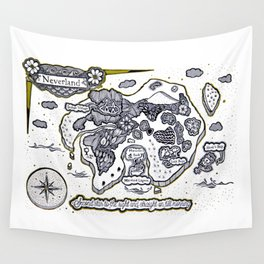 Neverland Illustration  Wall Tapestry