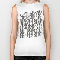 herringbone Biker Tanks featuring Herringbone – Black & White by Cat Coquillette