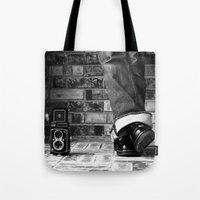 old school Tote Bags featuring old school by Jennifer Townsend