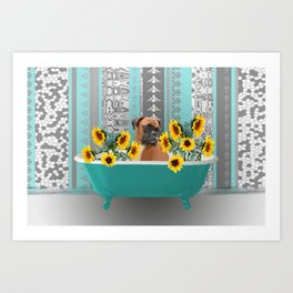 Turquoise Bathtub with Boxer dog and sunflowers Art Print