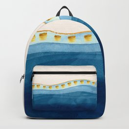 Blue waves and gold strokes Backpack
