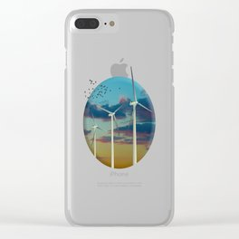 Wind Turbines Painted Sky Clear iPhone Case