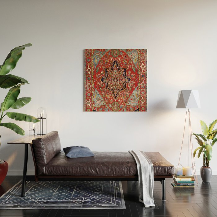 Heriz  Antique Persian Rug Print Wood Wall Art