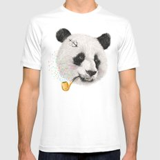 Panda Sailor White Mens Fitted Tee MEDIUM