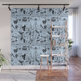 Da Vinci's Anatomy Sketchbook // Light Blue Wall Mural