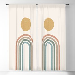 Mid-Century Modern Rainbow Blackout Curtain