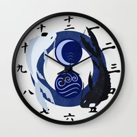avatar the last airbender Wall Clocks featuring Avatar The Last Airbender Water Clock Face by Art of Sara