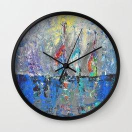 Three Sailboats - abstract acrylic painting sea landscape blue colors Wall Clock