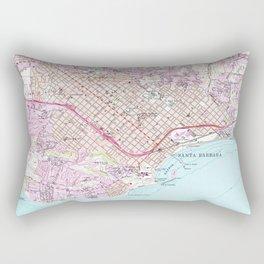 Vintage Map of Santa Barbara California (1952) Rectangular Pillow