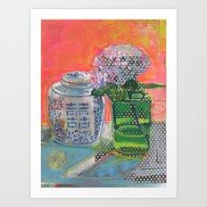 Double Happiness with Hydrangeas Art Print