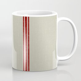 Red Stripes on Linen color background French Grainsack Distressed Country Farmhouse Coffee Mug