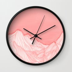 Lines in the mountains - pink Wall Clock
