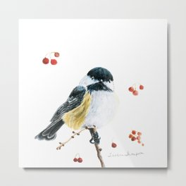 Christmas Chickadee by Teresa Thompson Metal Print