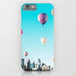 Minneapolis, Minnesota Skyline with Hot Air Balloons Over the City Skyline iPhone Case