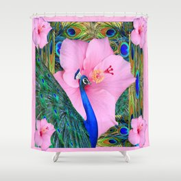 PINK HIBISCUS BLUE PEACOCK PATTERN ART Shower Curtain