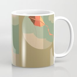 The boy with the kite. Dreams come true here, there and over there Coffee Mug