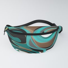 Liquify - Brown, Turquoise, Teal, Black, White Fanny Pack