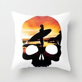 Skull Surf Throw Pillow