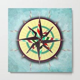 Striped Compass Rose Metal Print