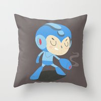 mega man Throw Pillows featuring Mega Man by Rod Perich