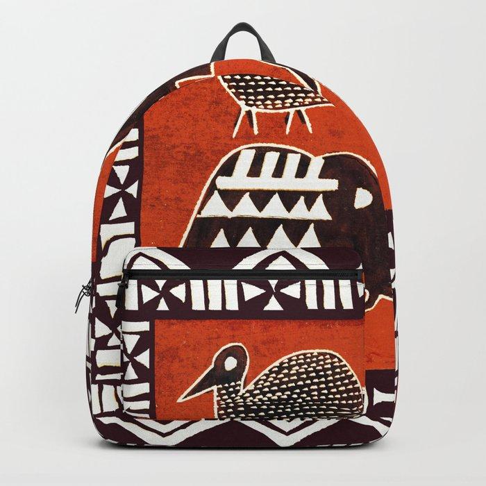 African Animal Folk Art Backpack