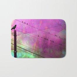 Birds On Powerline - Pink Aqua Blue Surreal Raven Crow On Powerlines Bath Mat
