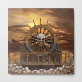 Pirate Skull Rudder Metal Print