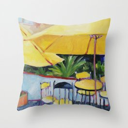 Yellow Umbrellas Throw Pillow