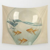 glass Wall Tapestries featuring Hour Glass Goldfish by Vin Zzep