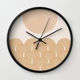 Sunny Ocean Gold Waves Wall Clock