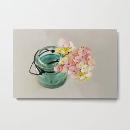 Pink and Yellow Hydrangeas on Taupe Metal Print