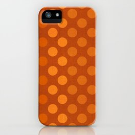 """Orange Burlap Texture & Polka Dots"" iPhone Case"