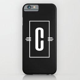 Modern Monogram  Letter C Black and White iPhone Case