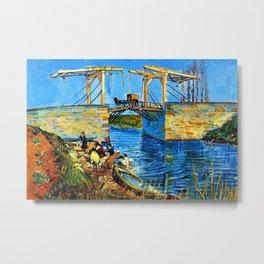 The Langlois Bridge at Arles by Vincent van Gogh Metal Print