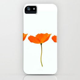 Three Orange Poppy Flowers White Background #decor #society6 #buyart iPhone Case