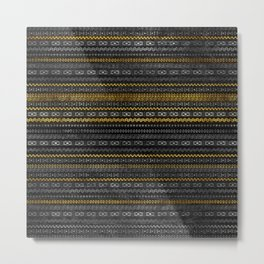 Gold and Silver Tribal Pattern on Black  wood Metal Print