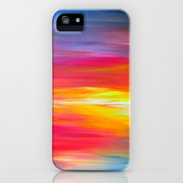 BRIGHT HORIZONS Bold Colorful Rainbow Pink Yellow Blue Abstract Painting Sunrise Sunset Stripes  iPhone Case