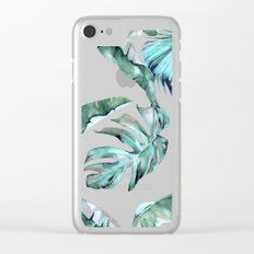 Tropical Palm Leaves Blue Green on White Clear iPhone Case