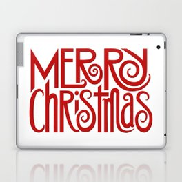 Merry Christmas Text red Laptop & iPad Skin