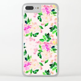 Watercolor spring floral pattern Clear iPhone Case