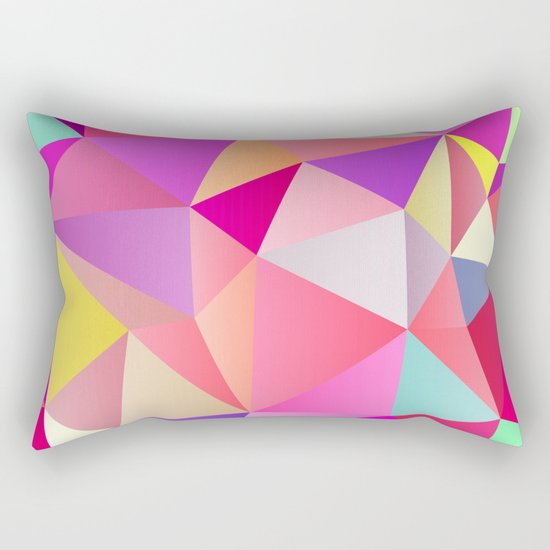 Pink Polygons Rectangular Pillow