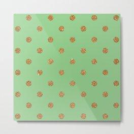 Dark Sea Green3 Gold Glitter Dot Pattern Metal Print